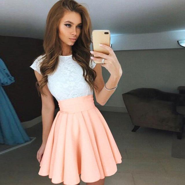 Brandwen Fashion Women Skirt Elastic Ladies Midi Skirt Sexy Girls Mini Pleated Skirts Solid Black Pink 2017 New
