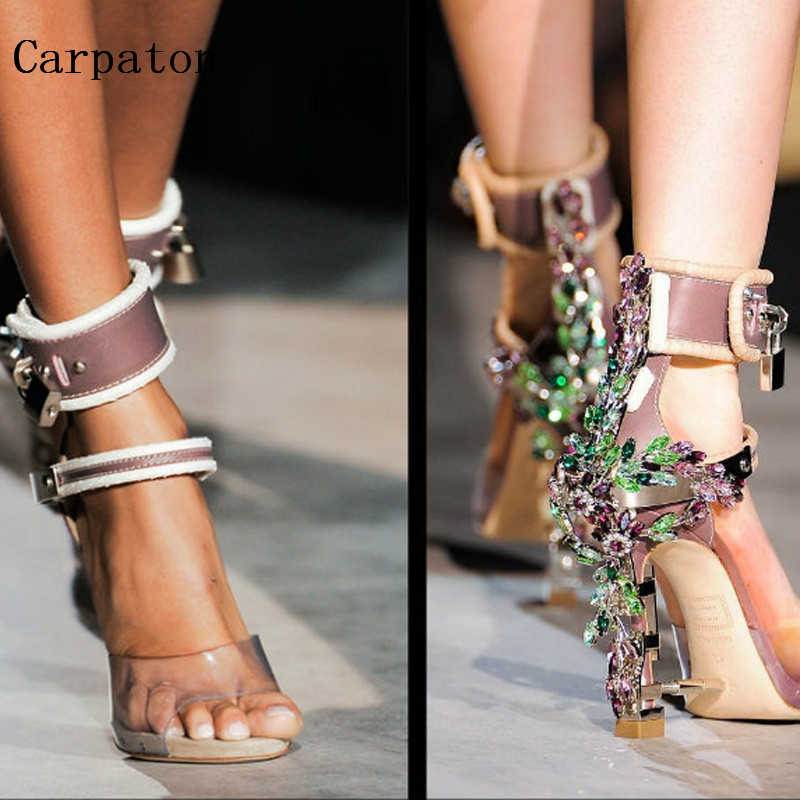 Gorgeous Crystal Embellished Sandals Noble Padlock Square Heel Ankle Wrap Shoes Summer Gladiator Sandals 2017 new ankle wrap rhinestone high heel shoes woman abnormal jeweled heels gladiator sandals women pvc padlock sandals shoes