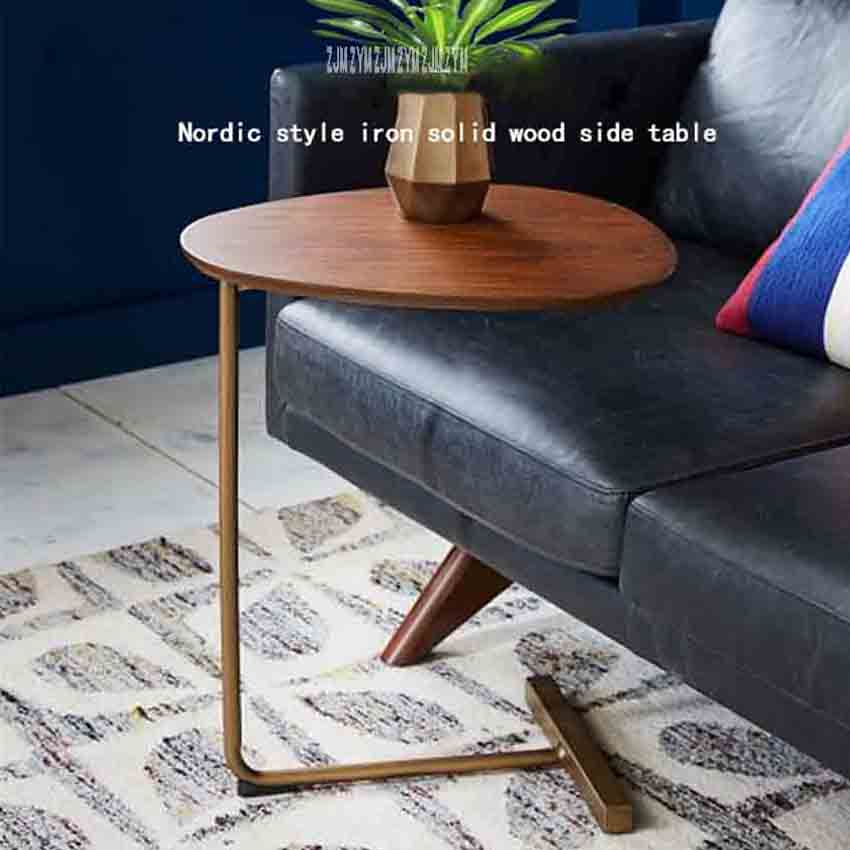 New KDR-777 Small Coffee Table Modern Simplicity Bedside Table Nordic Style Iron Solid Wood Side Table Mini Creative Tea Table