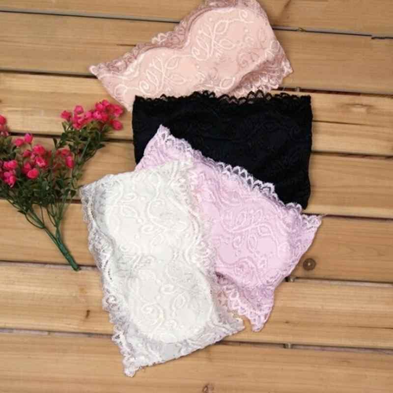 Moda Hot Style damskie Sexy dorywczo koronki Crop Boob Bandeau bez ramiączek krótkie zbiorniki bez szwu, jednolity, czarny, biały, różowy Nude
