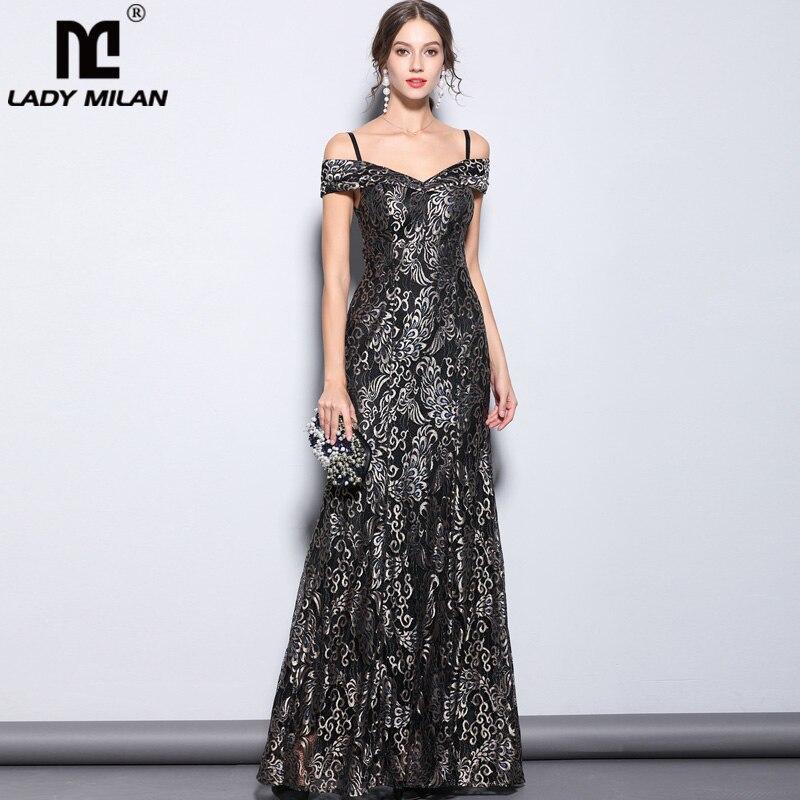 New Arrival Women s Party Prom Sexy Spaghetti Straps Slash Neckline Layered Elegant Leopard Lace Long
