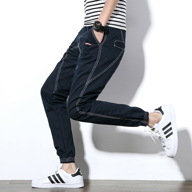2018 Hot Sale Midweight Stripe Striped Mid Cotton Full Length None Autumn New Korean Trendy Men's Denim Trousers Big Size Male