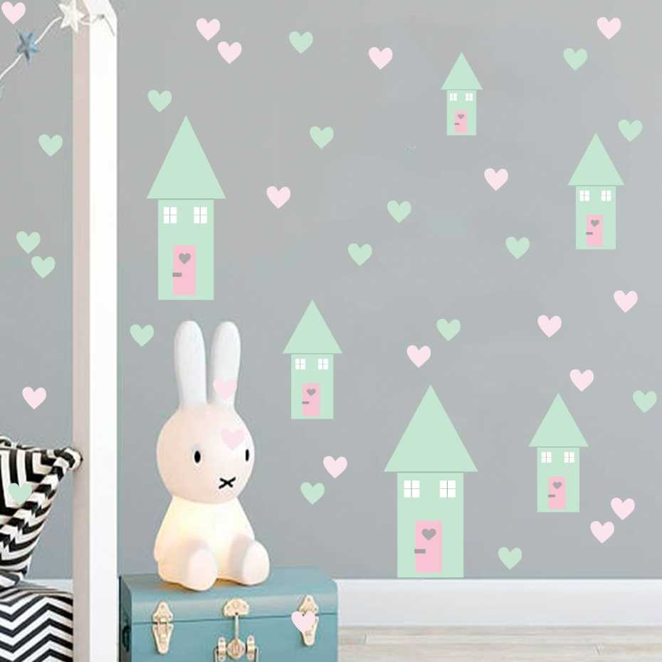 6 Happy House Different Sizes Stickers On The Wall Colored Heart Decals Funny Nordic Vinyl Art Murals For Kids Room Home Decor