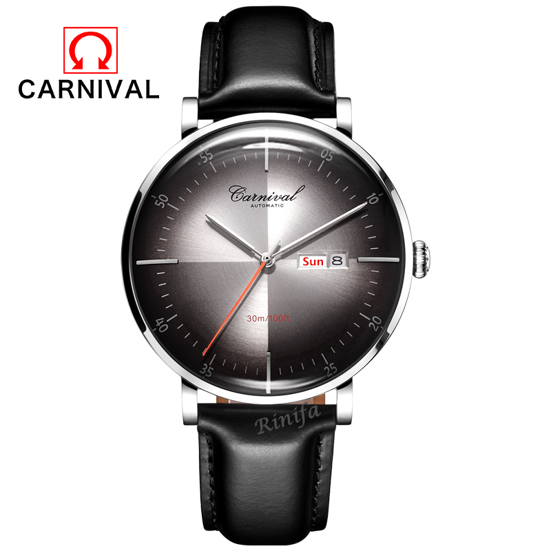 2019 Luxury brand switzerland Carnival MIYOTA Mechanical watch men waterproof leather strap Men Watches Clocks reloj