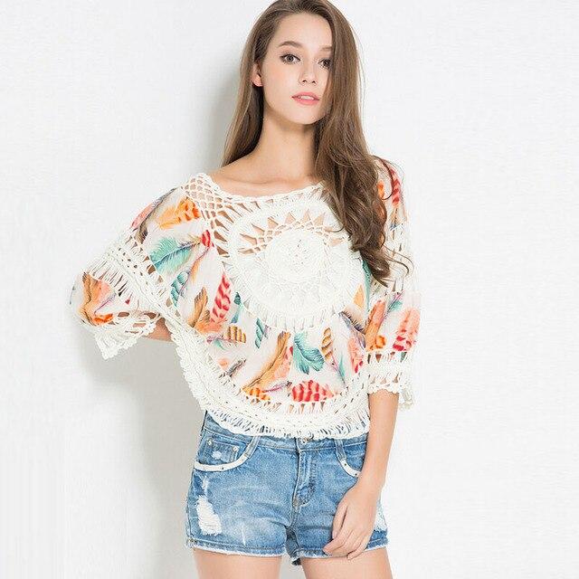 Plus Size Summer Women Blouses Feather Printed Sexy Hollow Crochet Tassel Blouse Shirt Blusa Camisa Feminina Tops Women Clothing