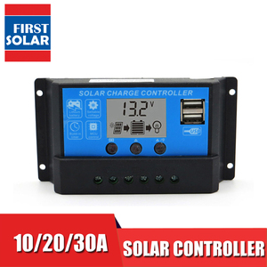 Image 1 - 10A 20A 30A 12V/24V LCD Display solar charger seale AGM GEL Iron li ion lithium battery PWM solar charge controller USB 5V