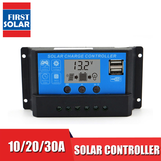 10A 20A 30A 12V/24V LCD Display solar charger seale AGM GEL Iron li ion lithium battery PWM solar charge controller USB 5V