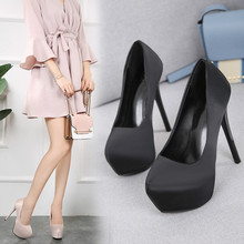 New Women Pumps Shoes Concise 14cm Thin High Heels Platform Pointed Toe Slip-On Shallow Solid Party Lady Sexy Club Female Shoes цена и фото