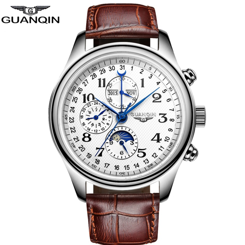 GUANQIN Business Automatic Watches Top brand Luxury Mechanical watch men Perpetual Calendar Moon Phase Leather Relogio Masculino все цены