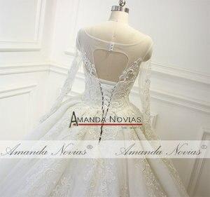 Image 5 - Robe de mariée en dentelle, nouveau Design, robe de mariée luxueuse, pleine perlée, 2019
