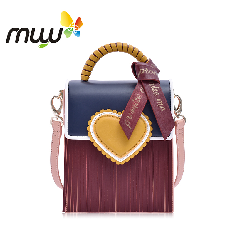 Muyu 2018 Women Fashion Soft PU Single Shoulder Bag Hasp Closure Tassels Ladies Crossbody Bag Female Casual Handbag 3051019 magnetic closure animal dolls pompon crossbody bag