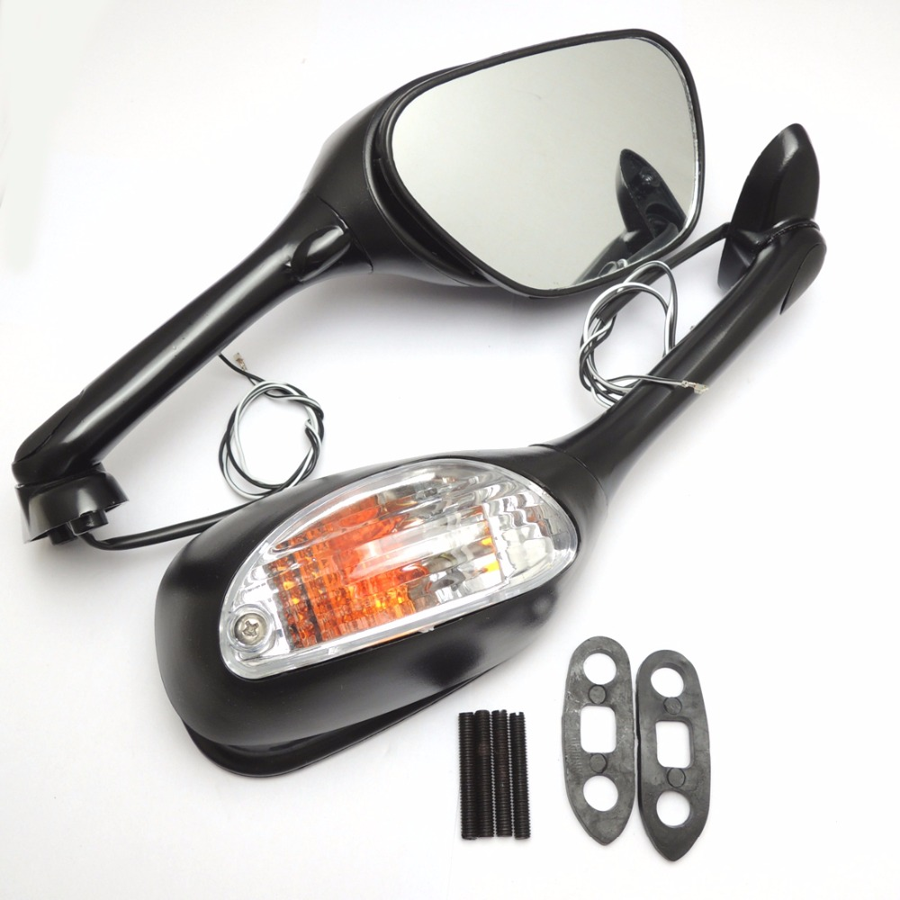 Motorcycle Side Mirrors with Turn Signal Light for Suzuki GSXR 600 GSXR 750 2006-2010 K6 K7 K8 GSXR 1000 2005-2008 7 gifts custom for 2007 suzuki gsxr 1000 fairings k7 k8 2008 gsxr 1000 fairing 07 08 glossy dark blue with white dr11
