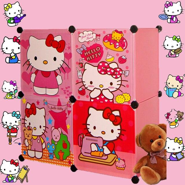 4 кубов детский мультфильм шкаф для хранения шкаф одежда шкаф дети шкаф организатор хранения организаторы