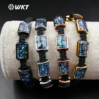 WT B375 Wholesale Shiny Shell Oblong Bracelet With Unique Weaving Abalone Knotted Bracelet In Adjustable Jewelry