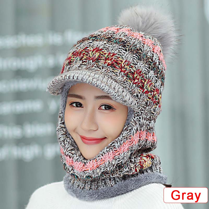 Women 3 In 1 Knitted Hat Scarf Mask Set Winter Warm Thick Snow Fleeve Bonnet Hats Striped Garro H9