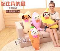 Cute Rabbit carrots cat eat fish banana monkey bone dog plush toy pillow doll birthday gift