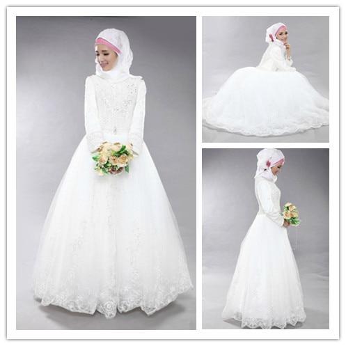 Vintage Muslim Long Sleeve Wedding Dresses With Hijab Islamic Plus Size Beading lebanon Wedding Gown Gelinlik Dantel MSL05