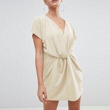 2019 New Summer Women Fashion Sexy V-neck Waist Twisted Leisure Short Dress