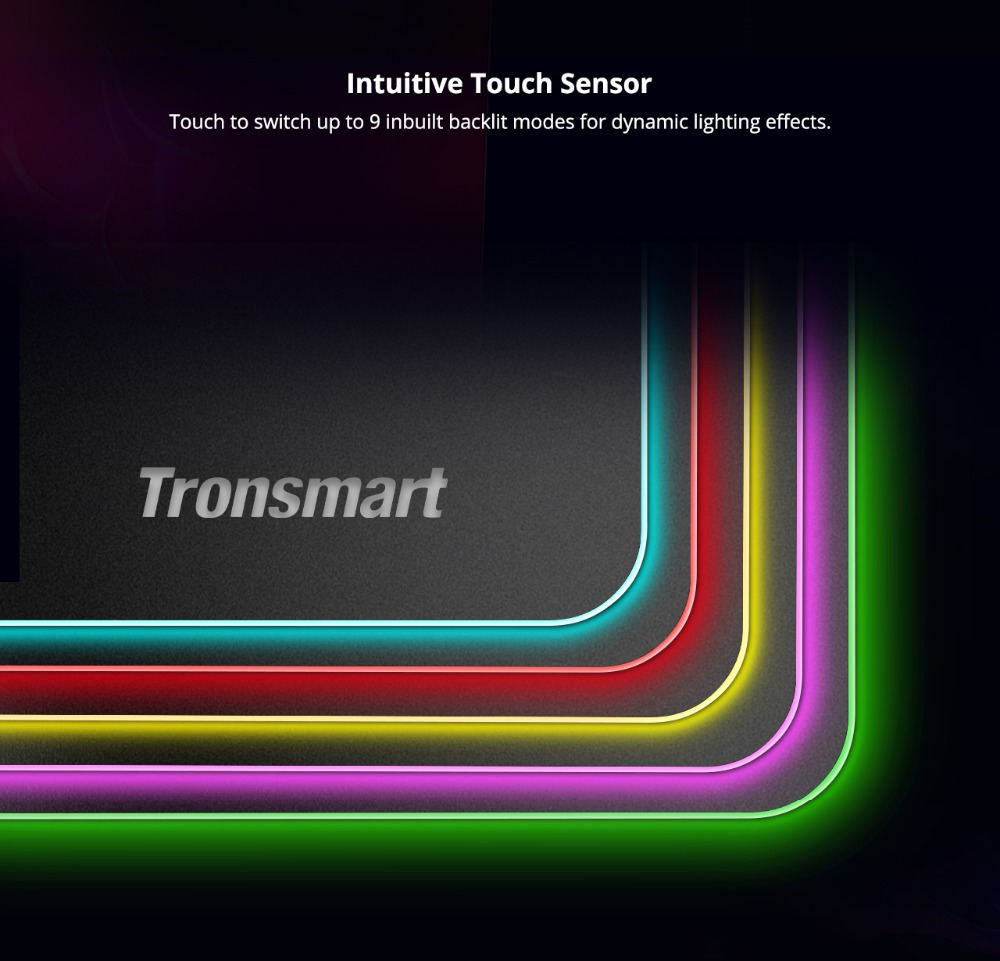 Tronsmart Shine X RGB Gaming Mouse Pad Compupter Mouse Pad Gamer USB Mat with 8MB flash memory,16.8 Million Colors,Touch Sensor 6