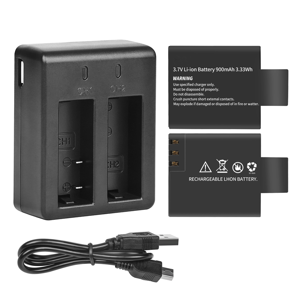 Image 2 - SHOOT Dual Port Battery Charger with 2pcs 900mAh Battery for Sjcam M10 Sj4000 Sj5000 4000 5000 Action Camera Sjcam Accessories-in Digital Batteries from Consumer Electronics
