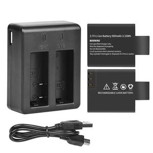 Image 2 - Schieten Dual Port Battery Charger Met 2 Stuks 900Mah Batterij Voor Sjcam M10 Sj4000 Sj5000 Sj 5000 Actie Camera sj9000 Accessoire