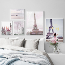 Paris Tower Girl Beach Ferris Wheel Wall Art Canvas Painting Nordic Posters And Prints Landscape Pictures For Living Room