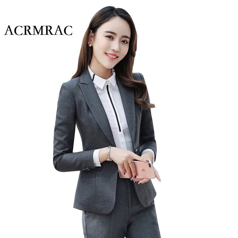 ACRMRAC Women New Spring and autumn suit Long sleeve suit Solid color Slim jacket pants Business OL Formal Dress Suits