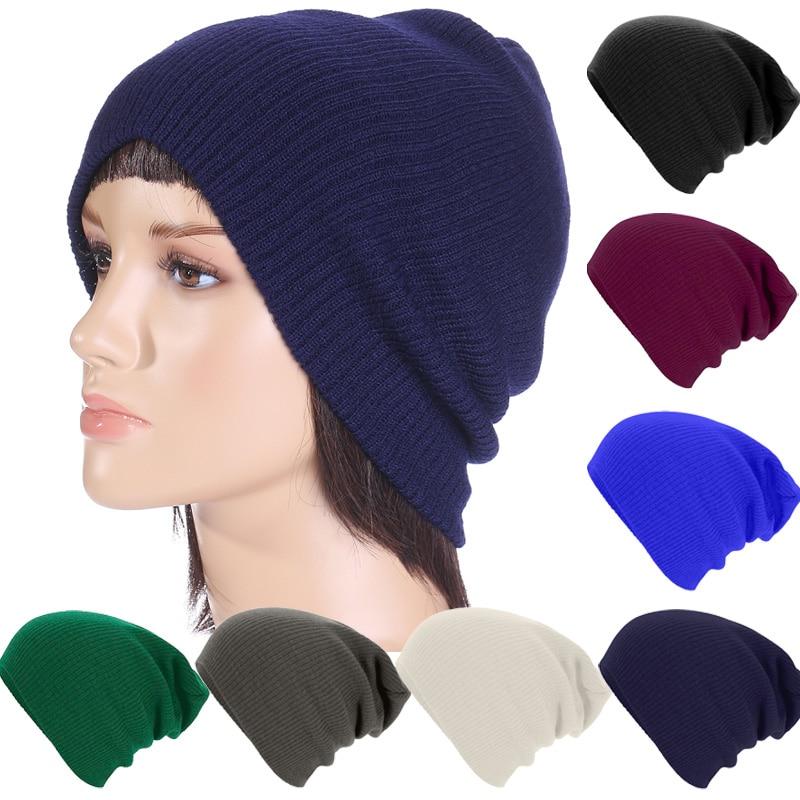 Spring Fashion Women Knitted Winter Cap Casual Beanies for Men Solid Color Skullies Bonnet Unisex Caps Female Hat Gorros LZ074  цены