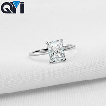 QYI 925 Sterling Silver Jewelry Halo Ring 1.5 ct Rectangle Cut Women Engagement Jewelry Zircon Wedding Rings Gift