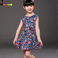 2016 Summer Girl Party Dress Fashion Kids Party Dresses For Girls Fashion Casual Summer Dress Cotton Print Formal Girls Dress