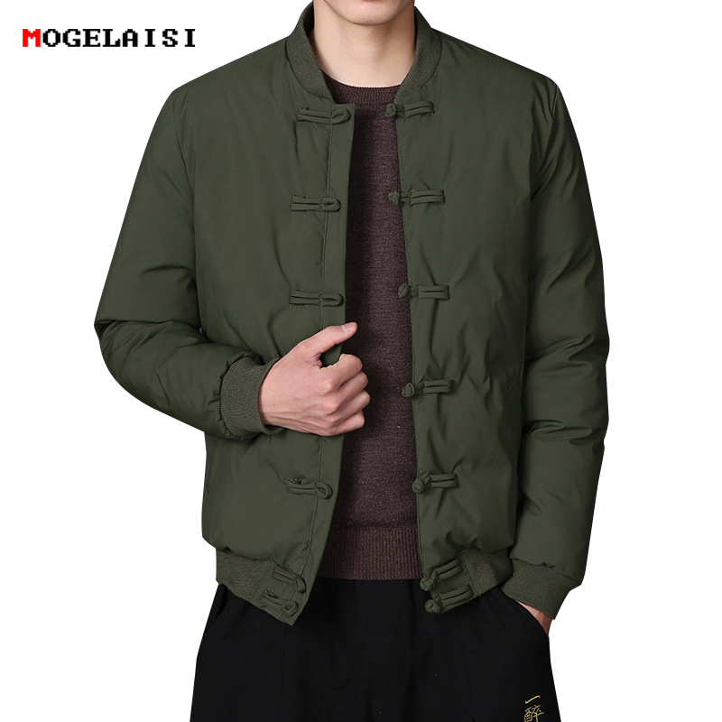 Image 2 - Men Jackets Chinese Style Rib Sleeve Mens Coat Army Green Jackets