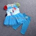 2017 fashion girl cor gaze vestido tutu meninas my pony crianças terno bebê dos desenhos animados da princesa de lantejoulas vestido de Lazer Conjunto de roupas Culottes