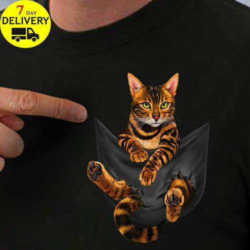Bengal Cat Inside Pocket T Shirt Bengal Cat Lovers T Shirt Black Size S-3XL Men Women Unisex Fashion Tshirt Free Shipping