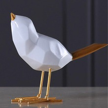 купить Geometric Resin Bird Figurine Home Furnishing Decoration Craft Wedding Christmas Gift White Bird Statue Home Office Mascot по цене 692.96 рублей