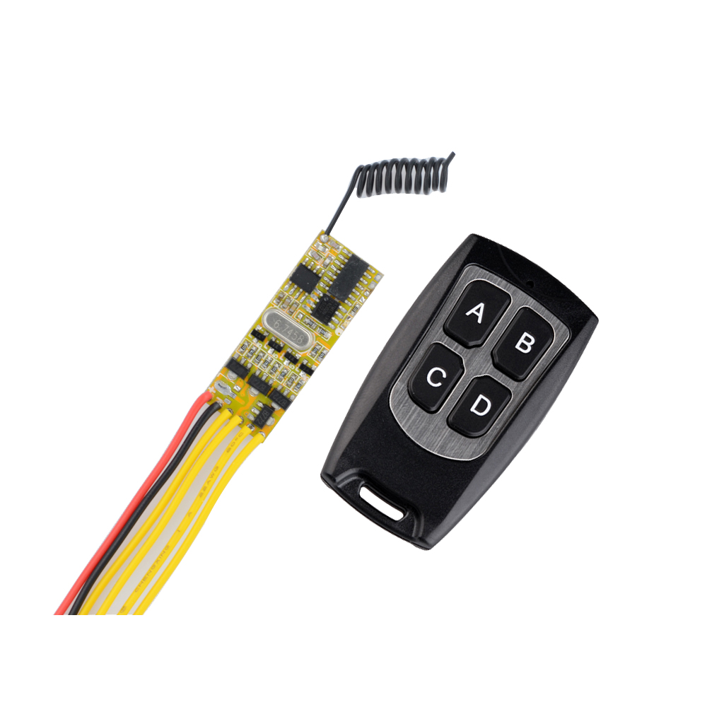DC5V -12V Mini Remote Control Switch 3V 3.7V 4.5V 5V 6V 9V 12V Micro 4CH Receiver Transmitter Small Size RX plc rf remote transmitter input power transmitting 3v 12v 3 3v 3 7v 4 5v 5v 6v 7 4v 9v 12v 10a mini relay receiver remote switch