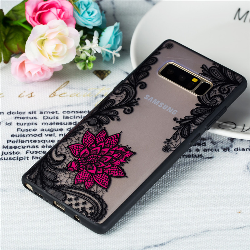 For Samsung Galaxy Note 8 Case For Samsung Galaxy Note 8 Cover TPU PC Lace Rose Flower Case Note 8 Phone Cover Funda in Fitted Cases from Cellphones Telecommunications