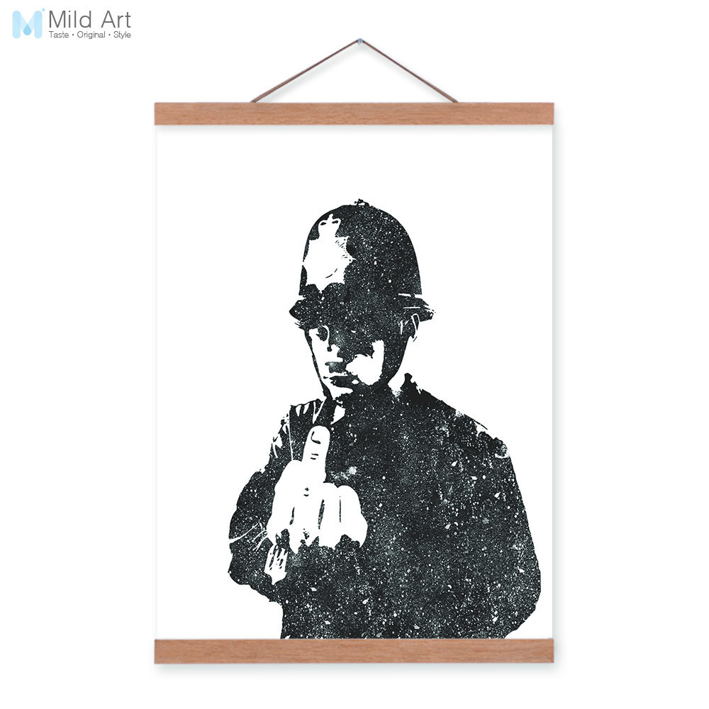 Black White Modern Abstract Banksy Pop Hipster Wooden A4 Framed Canvas Painting Home Decor Wall Art Print Pictures Poster Scroll