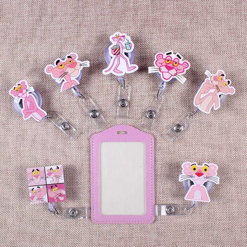 Cute Pink The Panther Porte Badge Scroll Nurse Reel Scalable Students Exhibition Entrance Guard Card ID Card Holder For PU Cards
