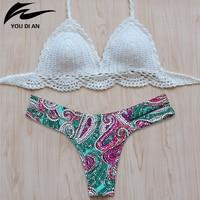 New Style Vintage Women Bikini 2016 Summer Sexy Crochet White Top Bikini Swimwear Hot Sale Handmade