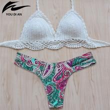 Здесь можно купить   New style Vintage Women Bikini 2016 Summer Sexy Crochet White Top Bikini Swimwear Hot Sale Handmade Knitting Bathing Suit Sportswear & Accessories