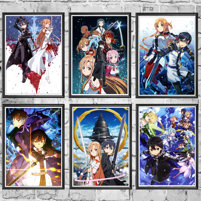 Japanese Anime Sword Art Online SAO Good Quality Painting Coated Poster White Paper For Home Bar Wall Decor