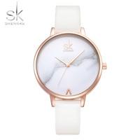 Shengke SK Brand Unique Marble Carving Quartz Women Watch Ladies Leather Strap Wristwatch Band Gift Clock