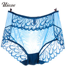 UIECOE Women Sexy Lace Floral Panties Briefs Low Rise Purple Blue Underpants Lingerie Underwear Women Clothing XL-3XL