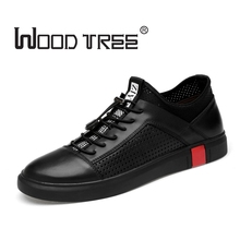 Woodtree White Shoe Mænd Casual 2018 Spring Autumn Mænds Designer Flat Shoes Ægte Læder Elegant Fritid Sko British Style