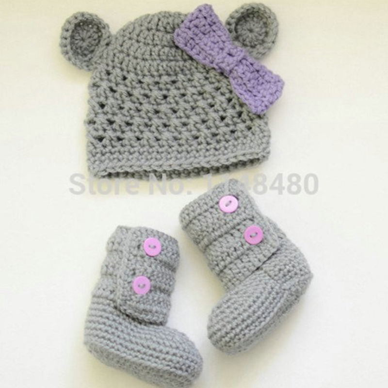 Nueva! ganchillo hechos a mano lindo sombrero recién nacido y botas ...