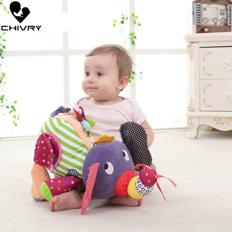 Chivry Baby Soft Stuffed Animals Kids Elephant Cute Cartoon Plush Toy Stuffed Rattles Teether Toys Animal Dolls Children Gift