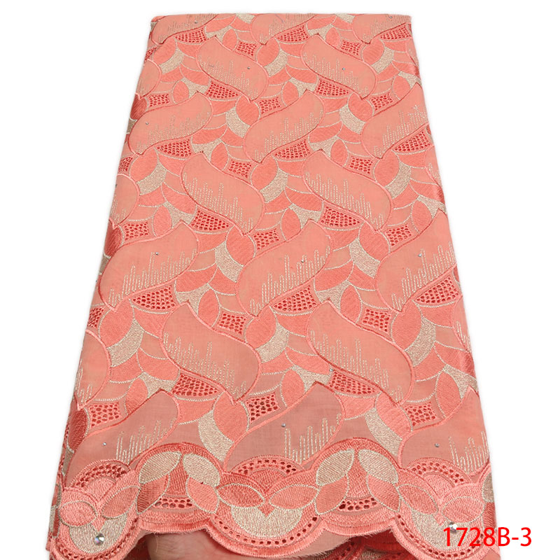 GD1728B 3 New Peach Nigeria Lace Fabrics Wedding Cotton African Dry Swiss Voile Lace High Quality
