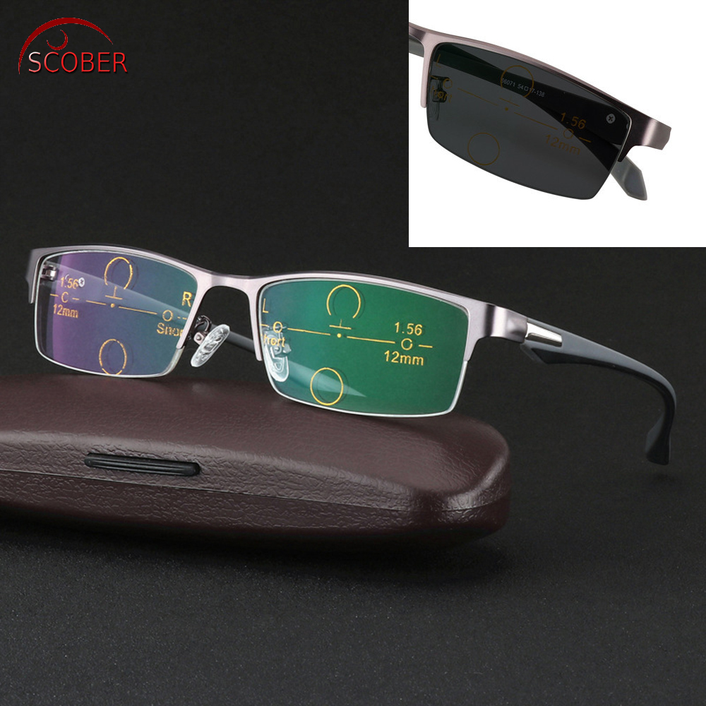 3.25 Independent Scober = Ultralight Al-mg Alloy Frame Tr90 Legs Photochromic Progressive Multifocal Reading Glasses Bifocal 1 1.5 To