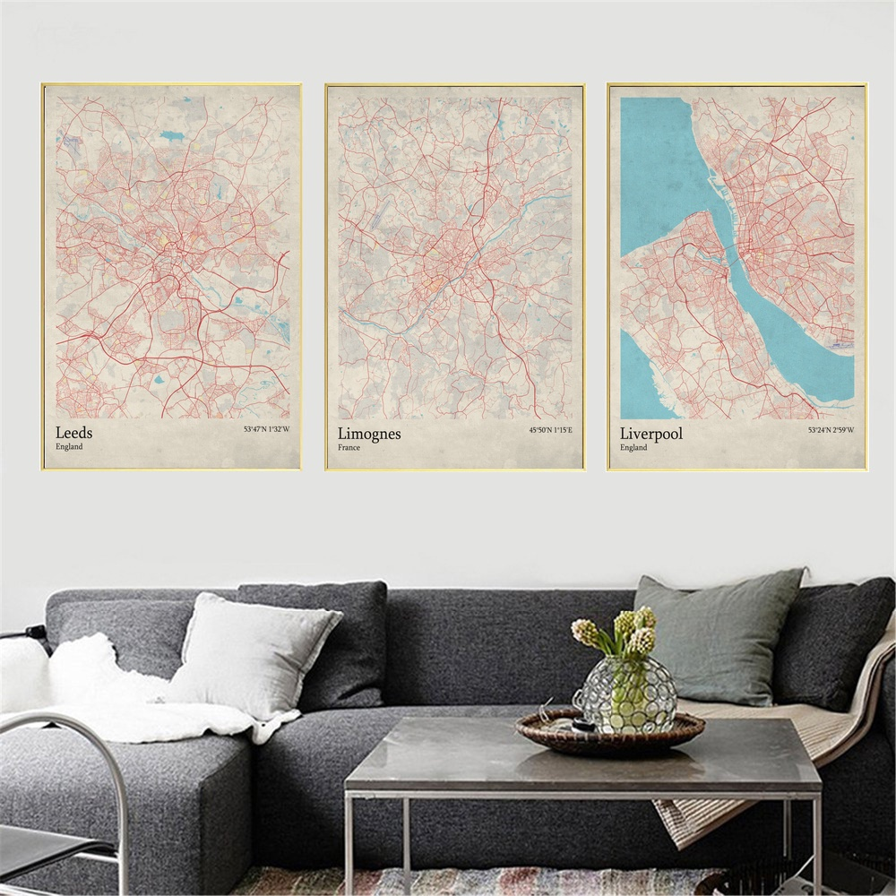 World City Map Leeds England Limognes France Liverpool England Living Room  Wall Art Picture Home Decor Canvas Painting