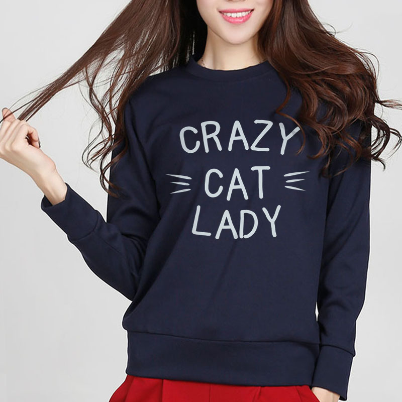 European Style Autumn Women Sweatshirt Crazy Cat Lady Print Jumper Casual Kawaii Hip Hop ...